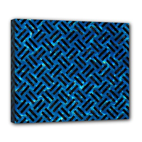 Woven2 Black Marble & Deep Blue Water (r) Deluxe Canvas 24  X 20   by trendistuff