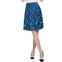 Woven2 Black Marble & Deep Blue Water (r) A Line Skirt by trendistuff