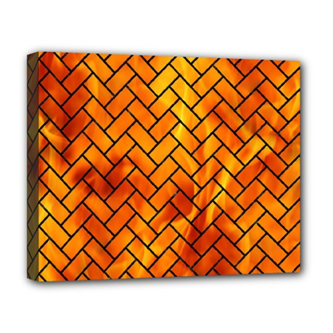 Brick2 Black Marble & Fire (r) Deluxe Canvas 20  X 16   by trendistuff