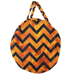 Chevron9 Black Marble & Fire (r) Giant Round Zipper Tote by trendistuff