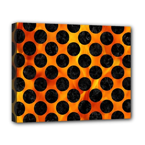 Circles2 Black Marble & Fire (r) Deluxe Canvas 20  X 16   by trendistuff
