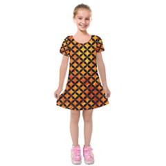 Circles3 Black Marble & Fire (r) Kids  Short Sleeve Velvet Dress by trendistuff