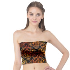 Damask1 Black Marble & Fire Tube Top