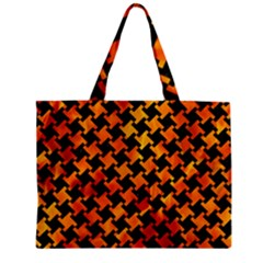 Houndstooth2 Black Marble & Fire Zipper Mini Tote Bag by trendistuff