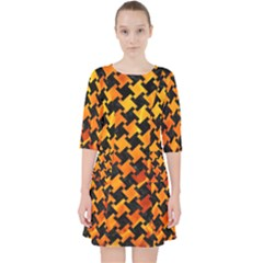 Houndstooth2 Black Marble & Fire Pocket Dress by trendistuff