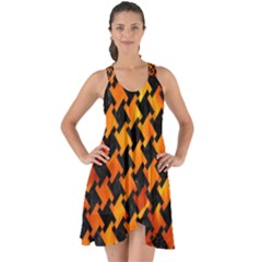 Houndstooth2 Black Marble & Fire Show Some Back Chiffon Dress by trendistuff