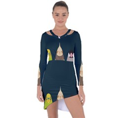 Animals Lovebird Walnut Peacock Parrots Birds Asymmetric Cut Out Shift Dress