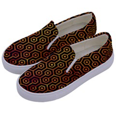 Hexagon1 Black Marble & Fire Kids  Canvas Slip Ons by trendistuff