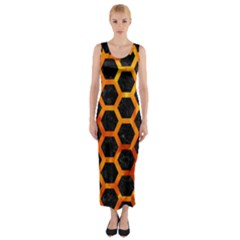 Hexagon2 Black Marble & Fire Fitted Maxi Dress