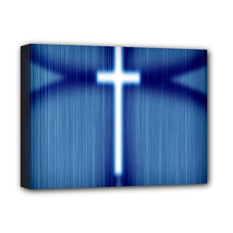 Blue Cross Christian Deluxe Canvas 16  X 12   by Mariart