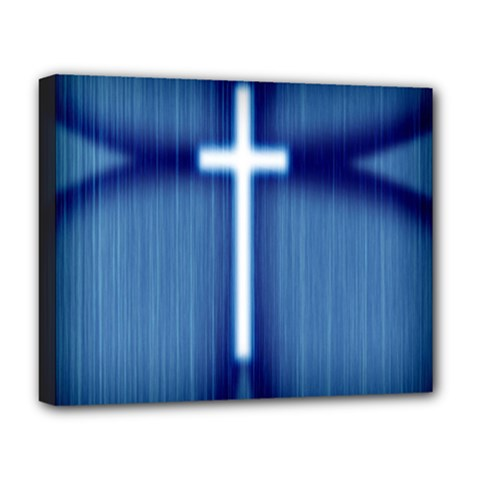 Blue Cross Christian Deluxe Canvas 20  X 16   by Mariart