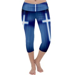 Blue Cross Christian Capri Yoga Leggings