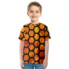Hexagon2 Black Marble & Fire (r) Kids  Sport Mesh Tee