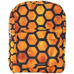 Hexagon2 Black Marble & Fire (r) Full Print Backpack by trendistuff