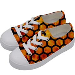 Hexagon2 Black Marble & Fire (r) Kids  Low Top Canvas Sneakers by trendistuff