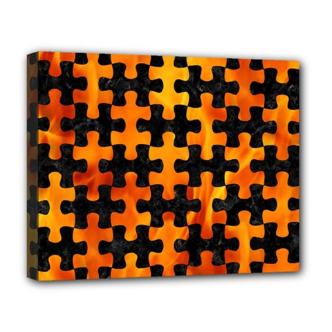 Puzzle1 Black Marble & Fire Deluxe Canvas 20  X 16   by trendistuff