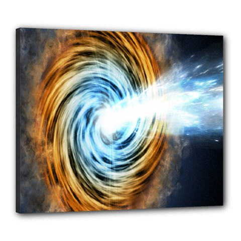 A Blazar Jet In The Middle Galaxy Appear Especially Bright Canvas 24  X 20  by Mariart