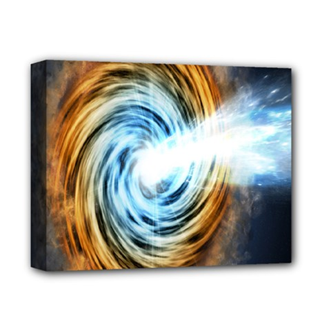 A Blazar Jet In The Middle Galaxy Appear Especially Bright Deluxe Canvas 14  X 11  by Mariart