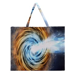 A Blazar Jet In The Middle Galaxy Appear Especially Bright Zipper Large Tote Bag by Mariart