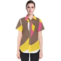 Breast Pink Brown Yellow White Rainbow Women s Short Sleeve Shirt