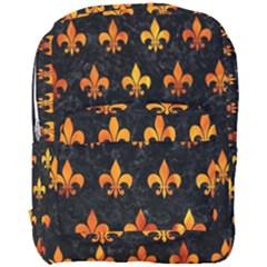 Royal1 Black Marble & Fire (r) Full Print Backpack by trendistuff