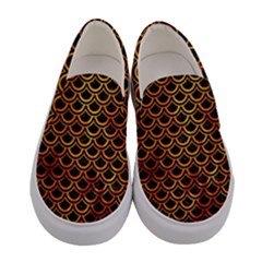 Scales2 Black Marble & Fire Women s Canvas Slip Ons