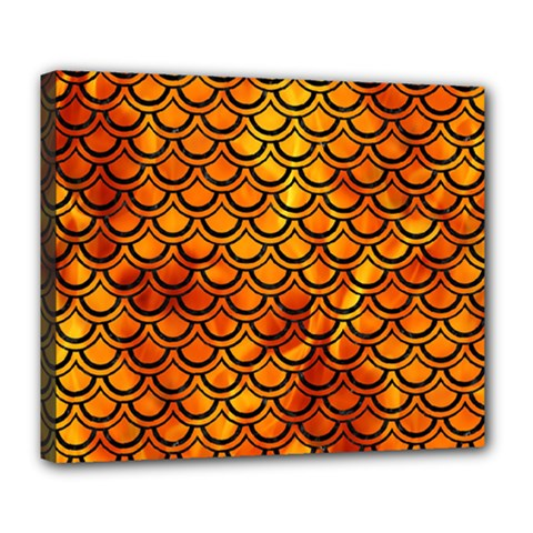 Scales2 Black Marble & Fire (r) Deluxe Canvas 24  X 20   by trendistuff
