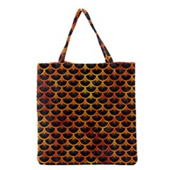 Scales3 Black Marble & Fire Grocery Tote Bag by trendistuff