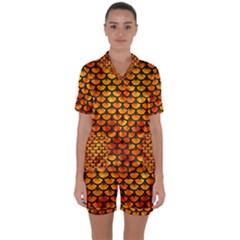 Scales3 Black Marble & Fire (r) Satin Short Sleeve Pyjamas Set