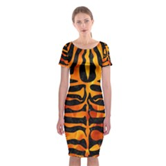 Skin2 Black Marble & Fire Classic Short Sleeve Midi Dress by trendistuff