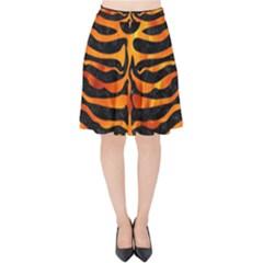 Skin2 Black Marble & Fire Velvet High Waist Skirt by trendistuff