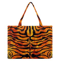 Skin2 Black Marble & Fire (r) Zipper Medium Tote Bag by trendistuff