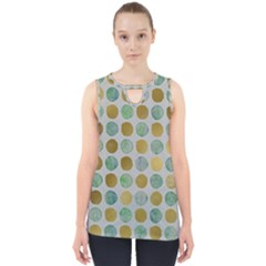 Green And Golden Dots Pattern                            Cut Out Tank Top