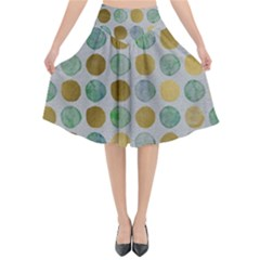 Green And Golden Dots Pattern                         Flared Midi Skirt by LalyLauraFLM