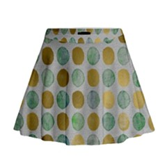 Green And Golden Dots Pattern                              Mini Flare Skirt by LalyLauraFLM