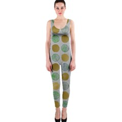 Green And Golden Dots Pattern                            Onepiece Catsuit