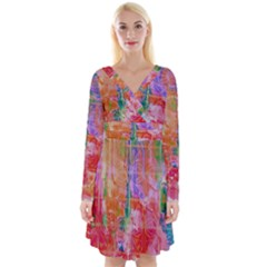 Colorful Watercolors Pattern                               Long Sleeve Front Wrap Dress