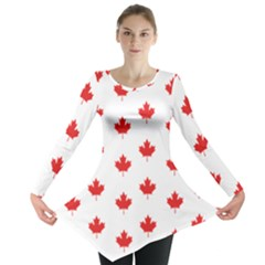Canadian Maple Leaf Pattern Long Sleeve Tunic  by Mariart