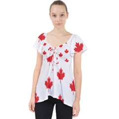 Canadian Maple Leaf Pattern Lace Front Dolly Top