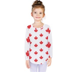 Canadian Maple Leaf Pattern Kids  Long Sleeve Tee by Mariart