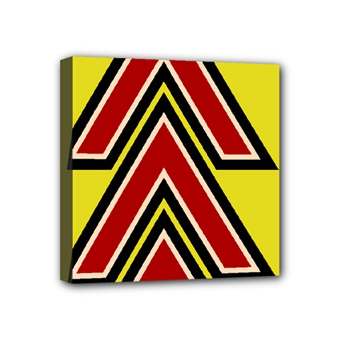 Chevron Symbols Multiple Large Red Yellow Mini Canvas 4  X 4  by Mariart