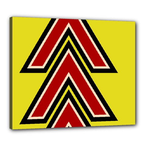 Chevron Symbols Multiple Large Red Yellow Canvas 24  X 20  by Mariart