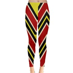 Chevron Symbols Multiple Large Red Yellow Leggings  by Mariart