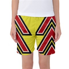 Chevron Symbols Multiple Large Red Yellow Women s Basketball Shorts by Mariart