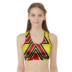 Chevron Symbols Multiple Large Red Yellow Sports Bra With Border by Mariart