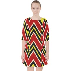 Chevron Symbols Multiple Large Red Yellow Pocket Dress