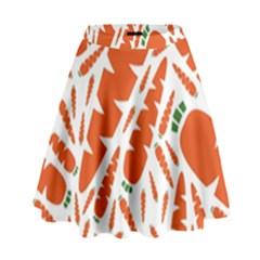 Carrots Fruit Vegetable Orange High Waist Skirt by Mariart
