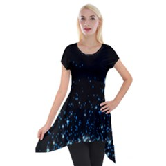 Blue Glowing Star Particle Random Motion Graphic Space Black Short Sleeve Side Drop Tunic by Mariart