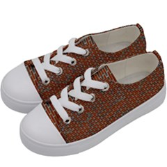 Brick Wall Brown Line Kids  Low Top Canvas Sneakers by Mariart
