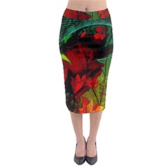 Flower Power, Wonderful Flowers, Vintage Design Midi Pencil Skirt by FantasyWorld7
